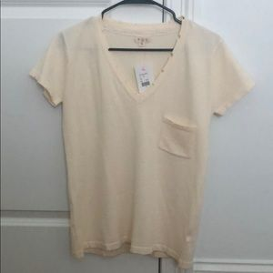 Cream POL T-shirt with frayed detail - size S NWT